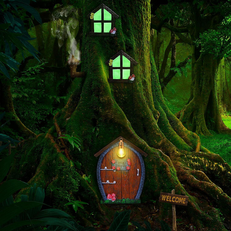 Home Miniature Window and Door with Litter Lamp Glow in Dark Fairies Sleeping Door and Windows Yard Garden Sculpture for Trees Decoration Garden Lawn Ornament