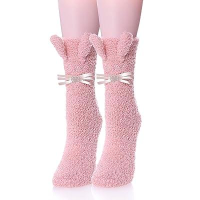 FANZERO Womens Girls Fuzzy Slipper Socks 3D Cute Animal Microfiber Super Soft Warm Winter Home Floor Socks (Pink Heart Cat) at Women's Clothing store