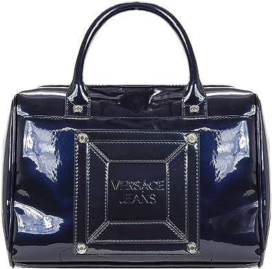 f1961826de1 Versace Jeans Faux Patent Leather Box Satchel (Blue (240))  Amazon.co.uk   Shoes   Bags