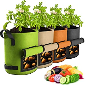 【4 Pack 7 Gallon】 Potato Grow Bags, Suntee Plant Grow Bags Heavy Duty Thickened Nonwoven Fabric Growing Bags, Planting Pots Container Garden Vegetable Tomato Planter with Handles and Large Window