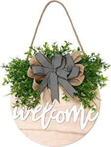 QUNWREATH Welcome Sign , Rustic Front Door Decor, Round Wood Hanging Sign with Eucalyptus, Farmhouse Porch Home Decoration ,Thanksgiving Christmas Gift(12inch) (Welcome White letter white board)