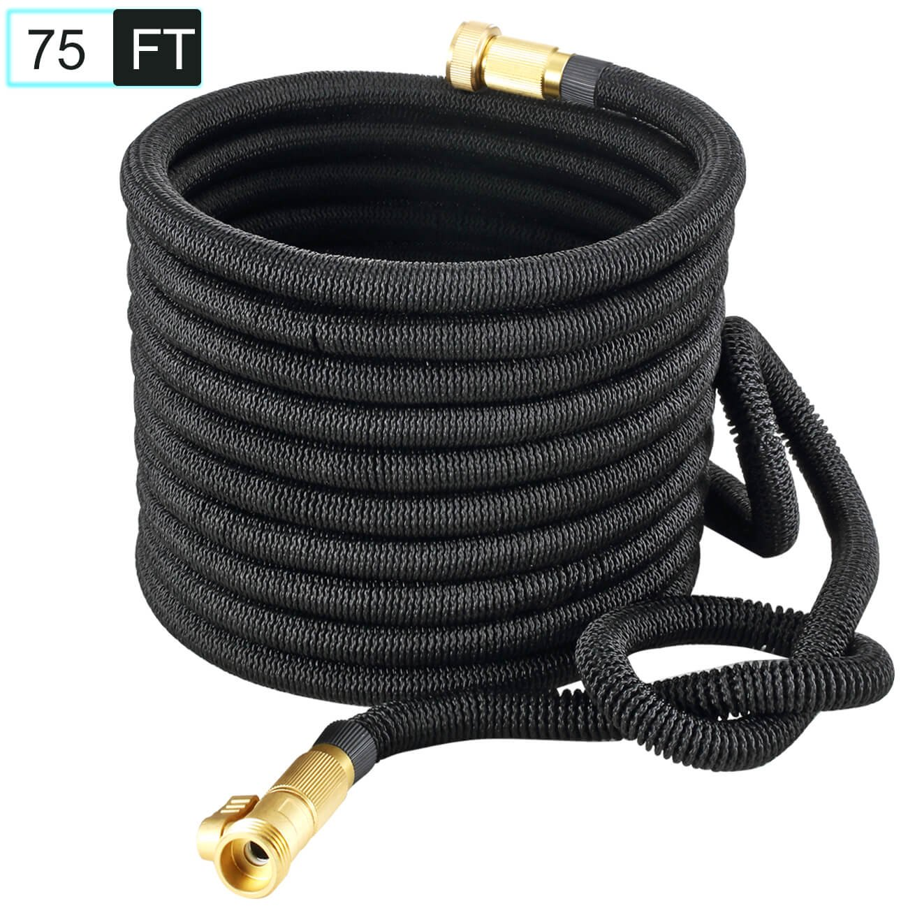 PEGZOS Improved 75FT Expandable Water Garden Hoses Expanding Water Hose with New Improved Double Latex Core, Extra Density Outside Woven, Solid Brass Connector for Car Outdoor Lawn Use (75FT, Black)