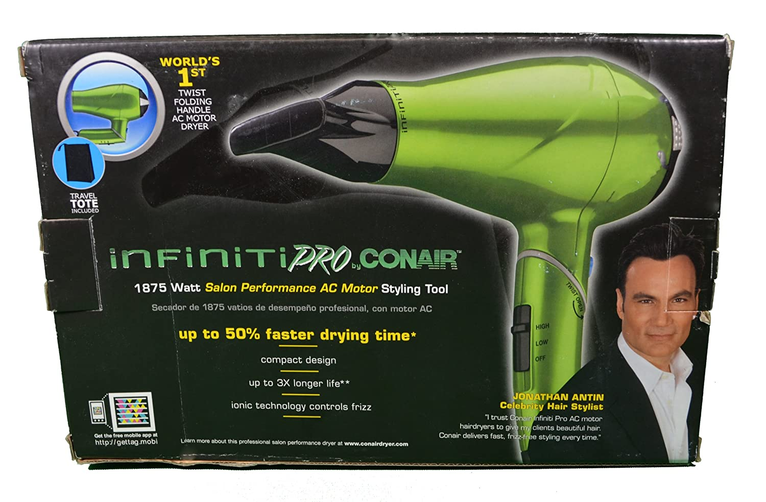 Amazon.com: Conair Infiniti Pro Hair Dryer Green Salon Styling Tool 1875 Watt 270R: Health & Personal Care