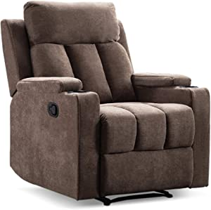 Merax Recliner Chair Lazy Boy Sofa, Manual Ergonomic Design with Overstuffed Armrest, Footrest and 2 Cup Holders for Theater, Living Room, Brown