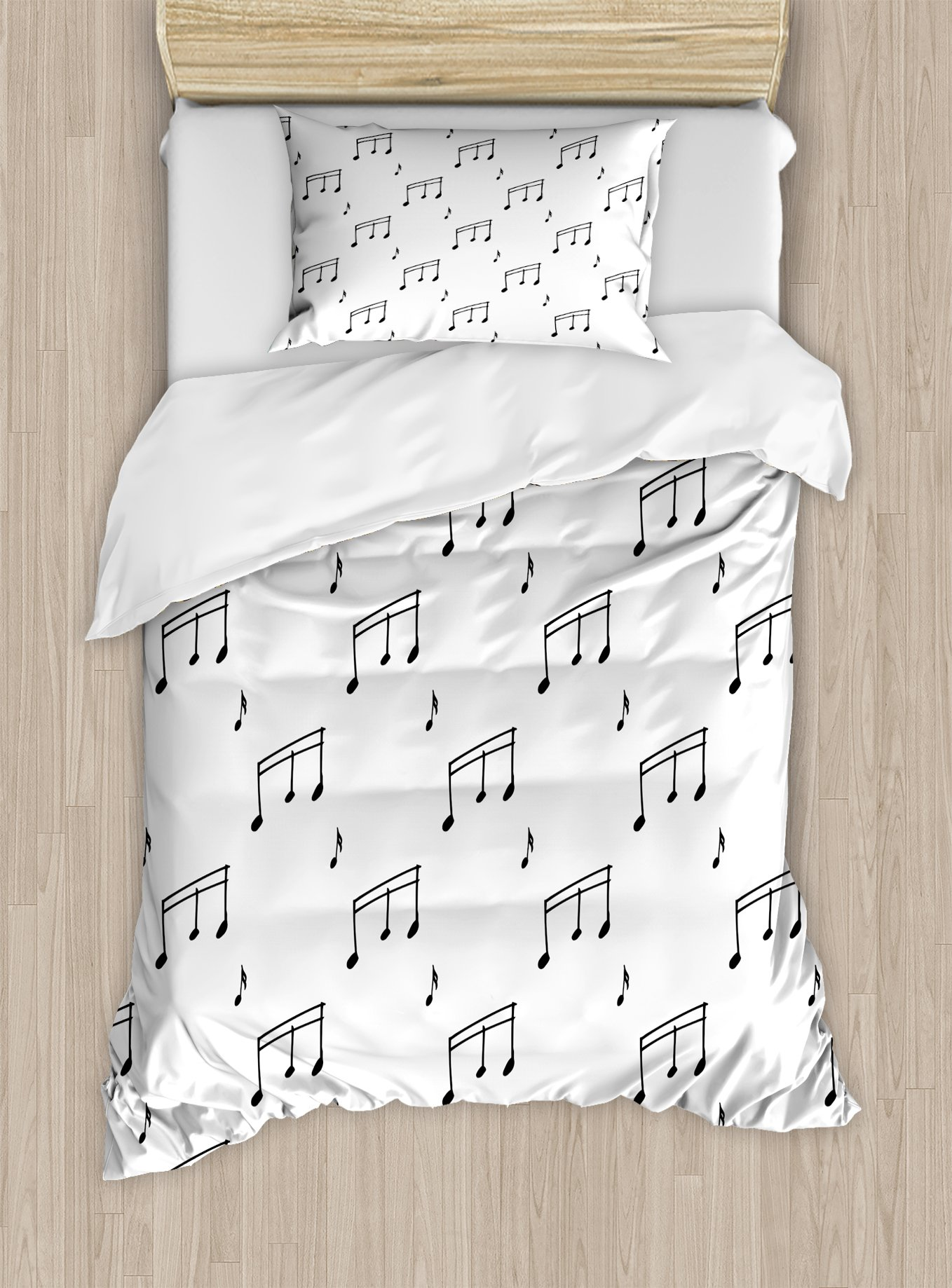 Ambesonne Music Duvet Cover Set Twin Size, Musical Notes Theme Melody Sonata Singing Song Clef Tunes Hand Drawn Style Pattern, Decorative 2 Piece Bedding Set with 1 Pillow Sham, Charcoal Grey