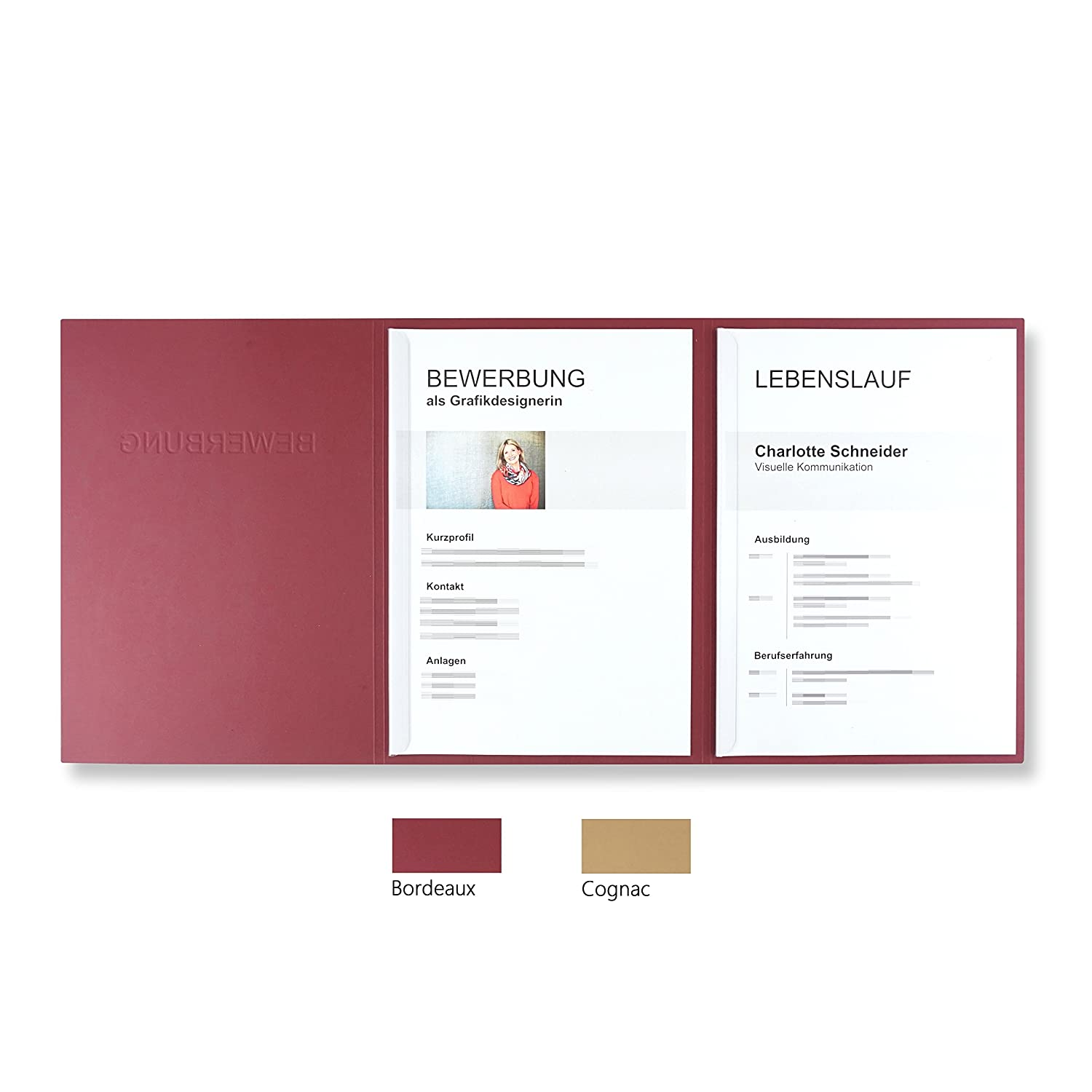 'Pack of 5 3-Part CV Folders Bordeaux with 2 Slide Binders in Leather-Look//High-Quality Prägung Bewerbung Direct from the Manufacturer Stratag 10