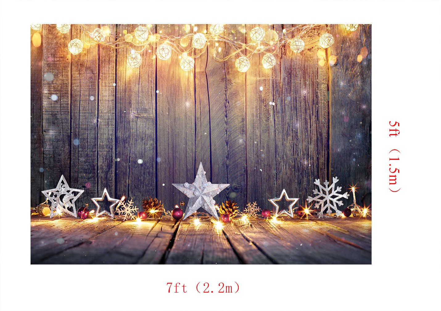 Kate de Madera Suelo Photography Fondo Bokeh Luces Photocall telón de Fondo decoración de Navidad para Estudio de Fotos 7 x 5ft/2.2x1.5m
