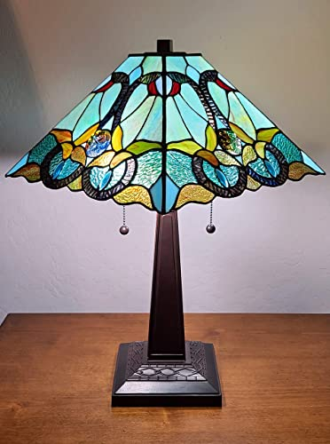 Amora Lighting Tiffany Style Table Lamp Banker 20″ Tall Stained Glass White Green Red Brown Yellow Vintage Antique Light D cor Nightstand Living Room Bedroom Handmade Gift AM254TL14B