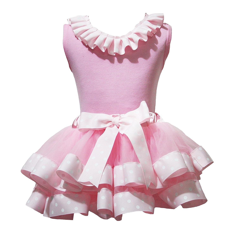 Easter Dress Lacing Shirt Pink Polka Dots Ribbon Pink Petal Skirt Set Nb-8y