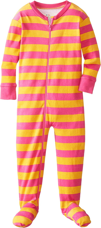 New Jammies Little Girls  Zippered Organic Classic Stripes Sleepers