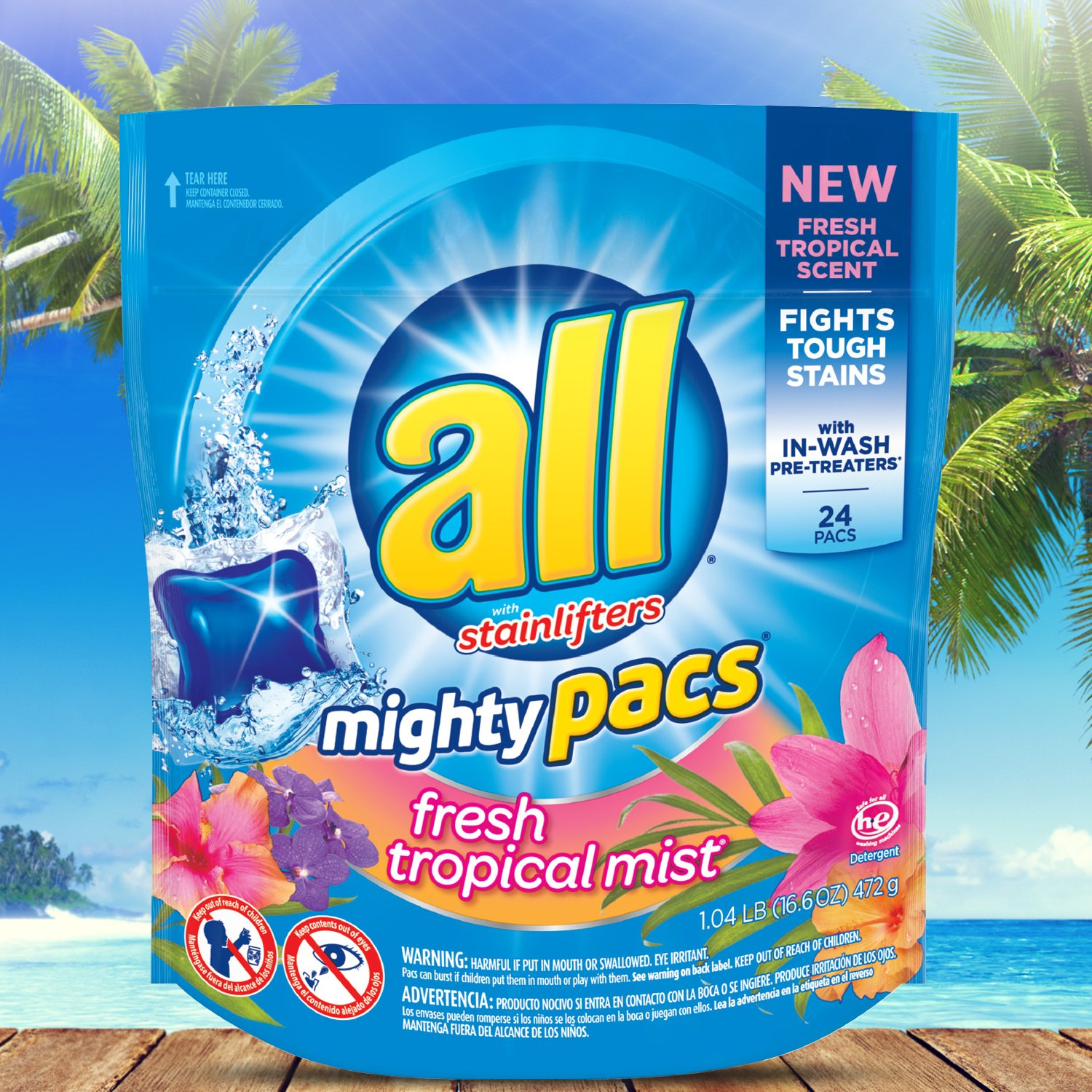 all Mighty Pacs Laundry Detergent, Fresh Tropical Mist, Pouch, 24 Count