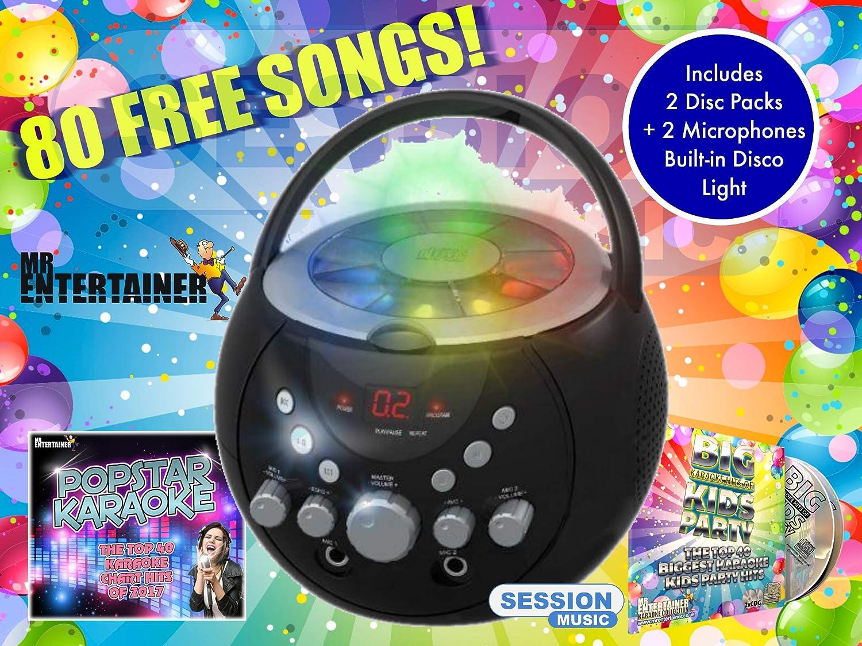 Mr Entertainer CDG Boombox Système de Karaoké avec Bluetooth et lumières Clignotantes KAR121