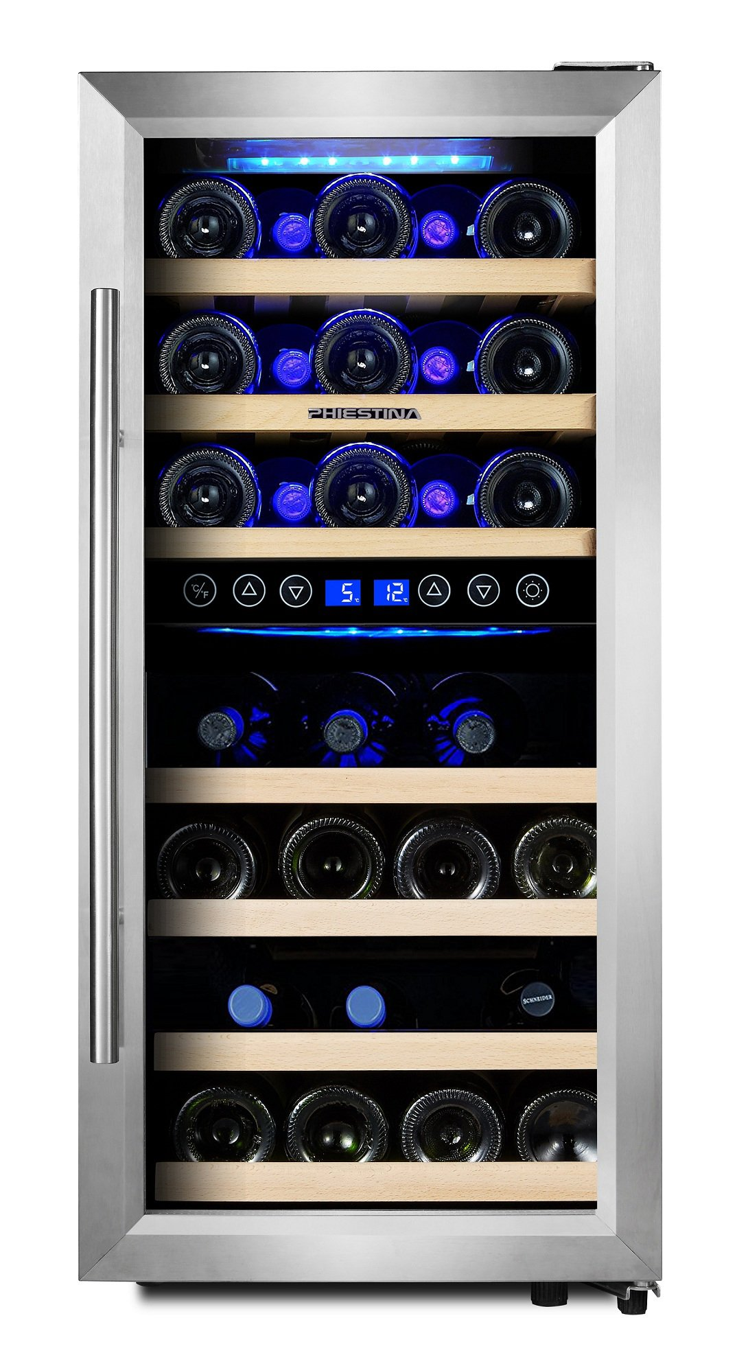 Phiestina 33 Bottle Wine Cooler Double Zone Steel Door with Handle by phiestina (Image #3)