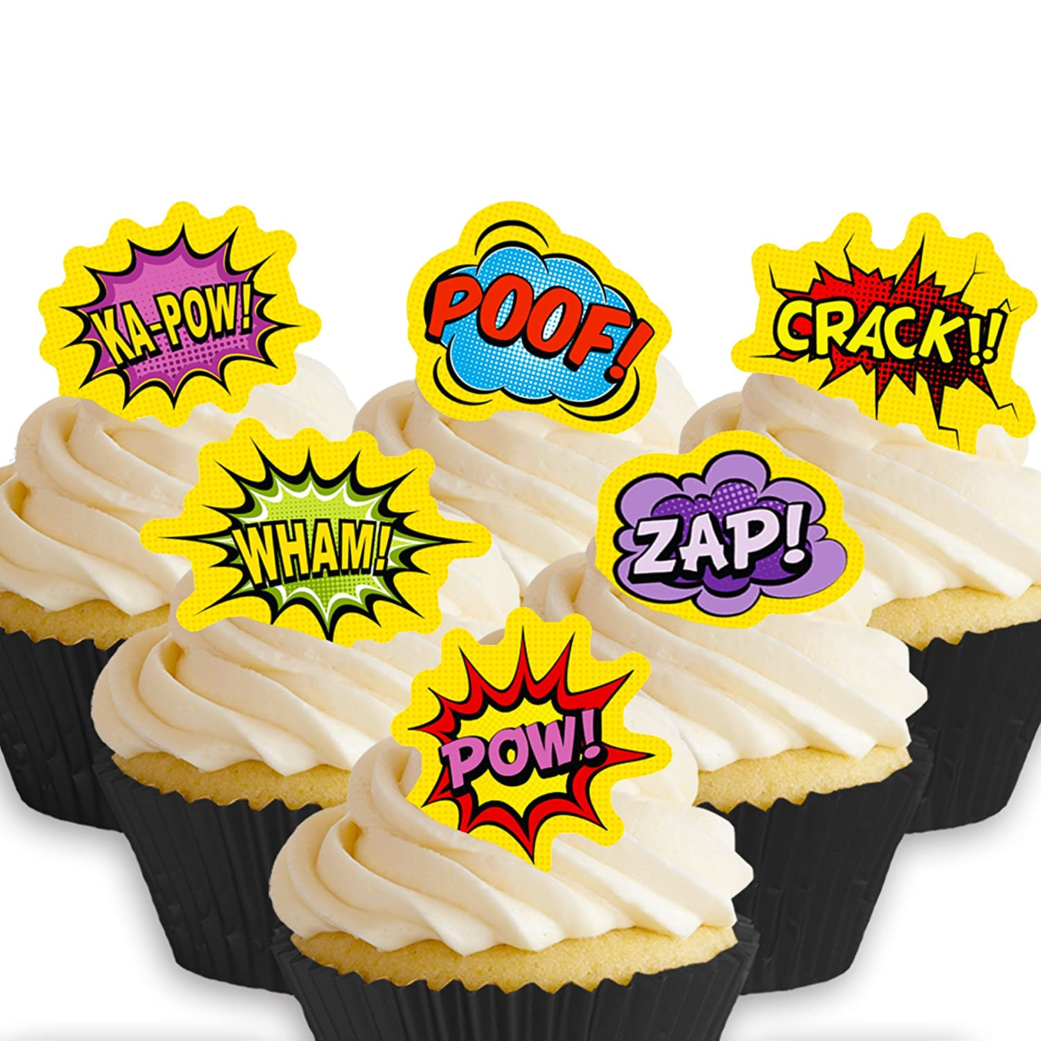 Cakeshop 12 x PRE-CUT Superhero Comic Words Edible Cake Toppers ...