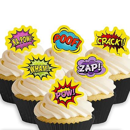 12 X Vorgeschnittene Und Essbare Superheld Comic Kuchen Topper