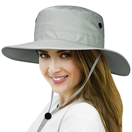 Tirrinia Unisex Waterproof Sun Hat Wide Brim Safari Fishing Golf Boonie Hat  with Adjustable Drawstring for Men Women Outdoor Hiking Camping Boating  Hunting 702333ba0a6