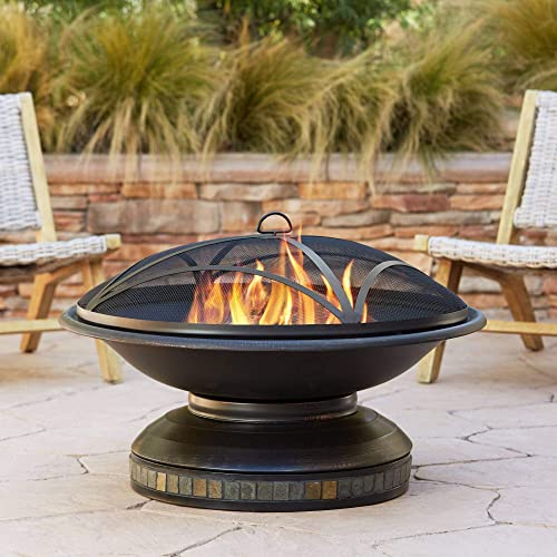 John Timberland Bristol Black Iron Outdoor Fire Pit Round 35 Steel Wood Burning with Spark Screen and Fire Poker for Outside Backyard Patio Camping Deck
