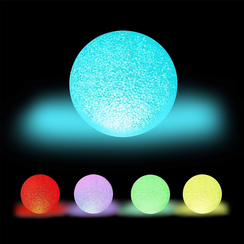 Relaxdays Lámpara LED redonda, Cambio de color, A pilas, Sin cable, Interior, Multicolor, Ø 15 cm, Blanco