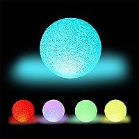 Relaxdays Led-bollamp, met kleurverandering, werkt op batterijen, zonder kabel, voor binnen, kleurrijke lichtbol, Ø 15…