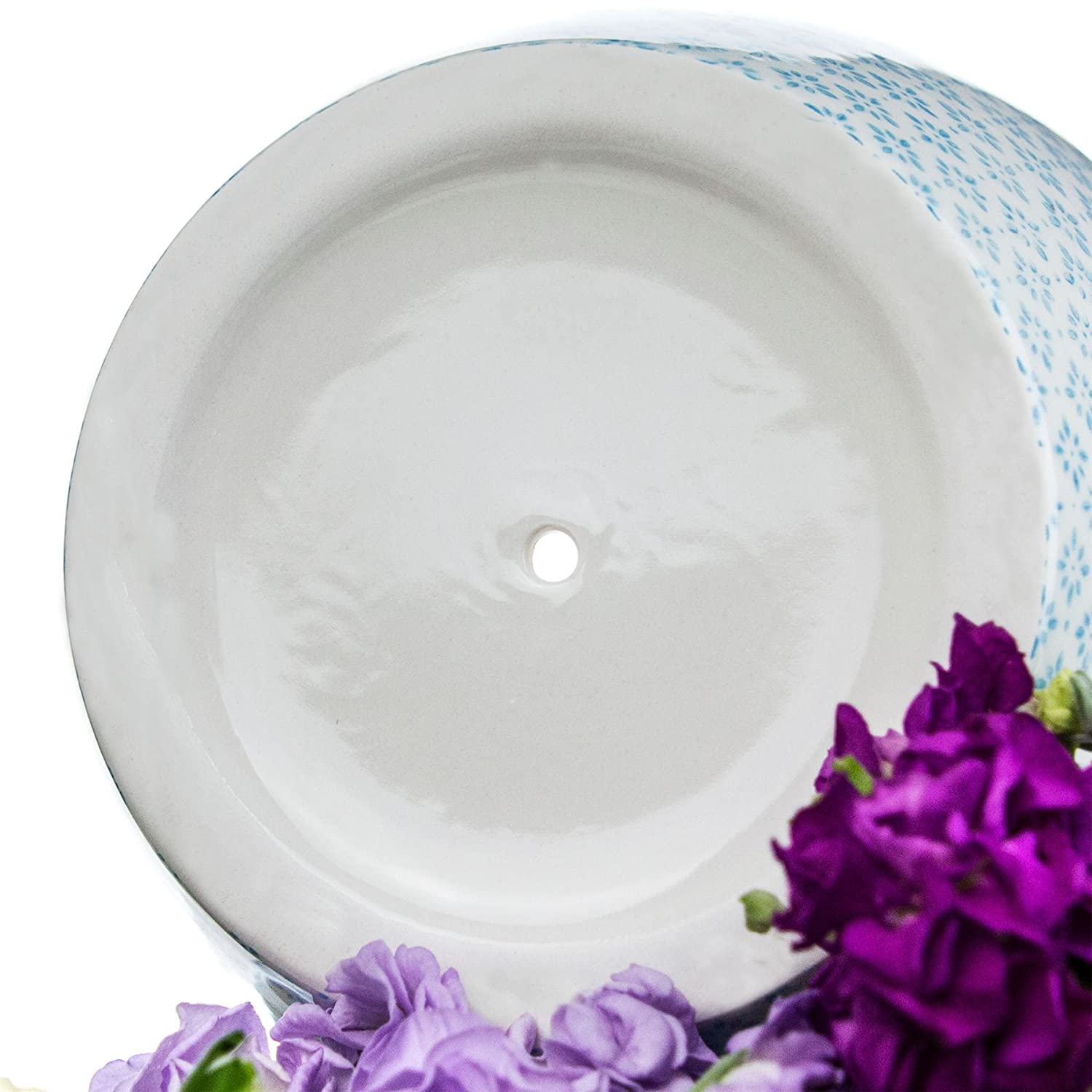 20cm Nicola Spring Porcelain Flower Pot With Drip Tray in Blue Print