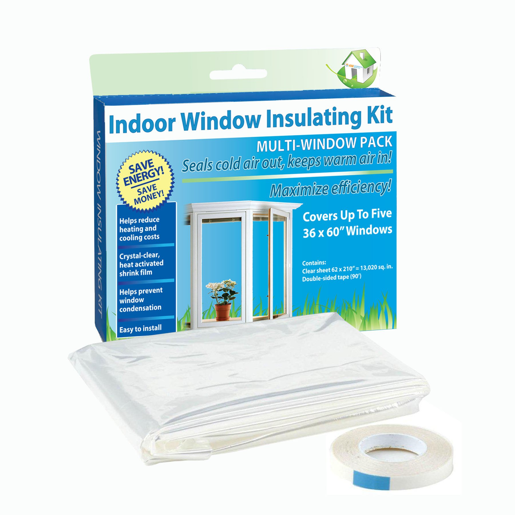 AM Conservation Group, Inc. AM-E1503DP Simply Conserve 5-Window Indoor Window Insulating Kit