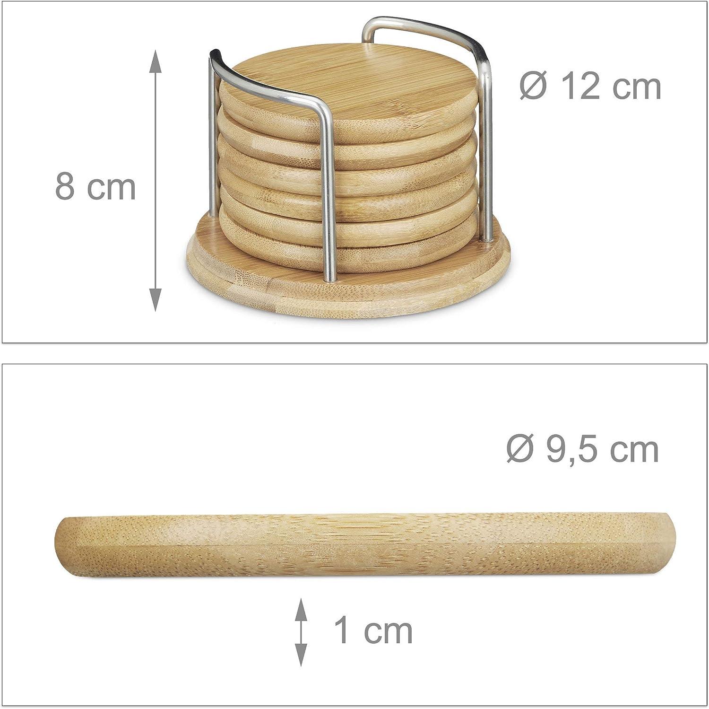 Untersetzer Bambus 7er Set rund Glasuntersetzer für Getränke Holzuntersetzer