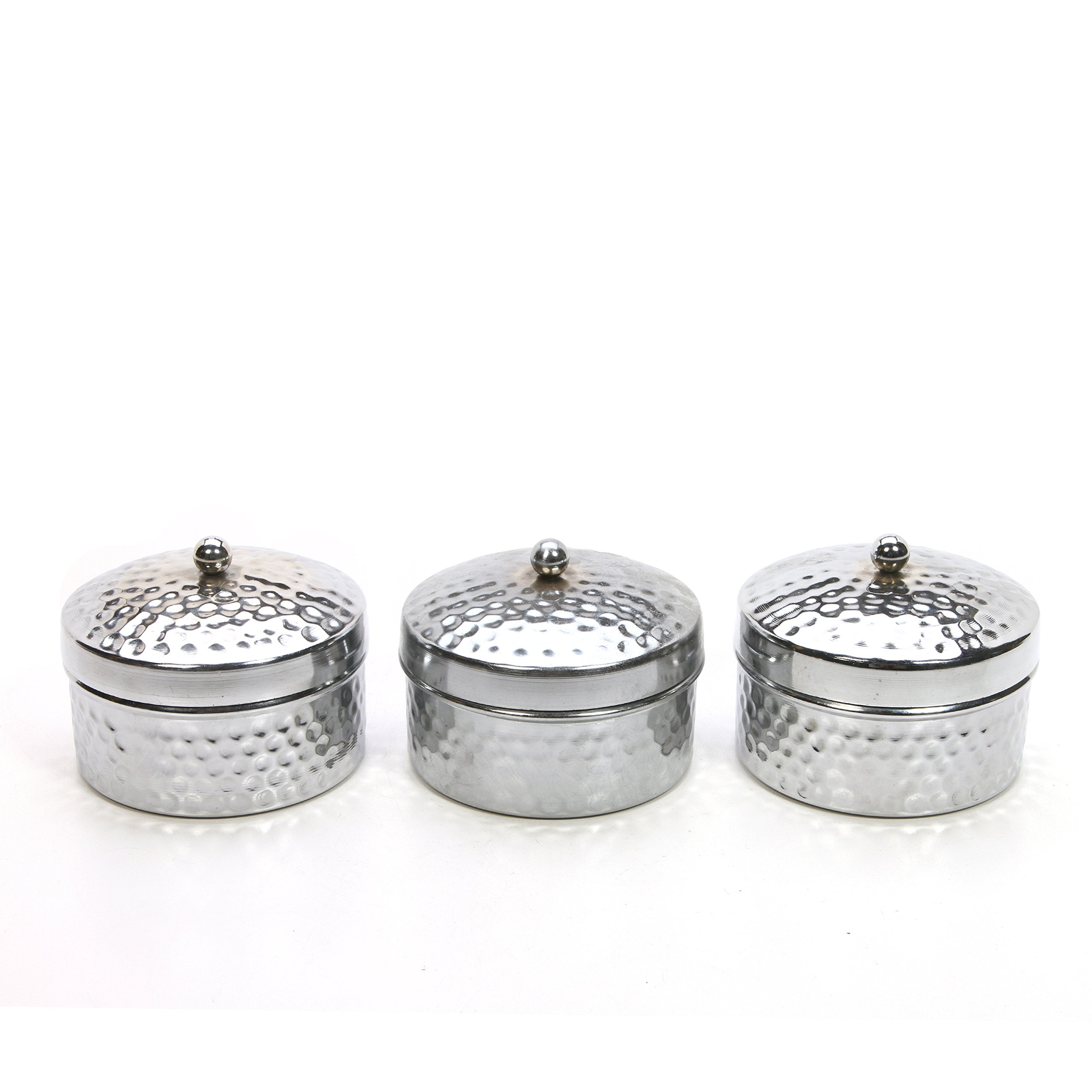 Hosley Set of 3 Silver Iron Hammered Wax Filled Candle With Lid- Lavender. Ideal Gift for Wedding, Special Events, Aromatherapy, Spa, Reiki, Meditation, Bathroom Setting, Everyday Use. P1