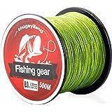 Sougayilang 500m/547Yards 4 Strands 12lb-72lb Multifilament Pe Superbraid and Braided Fishing Line (Grey Yellow Black Green Multicolor)