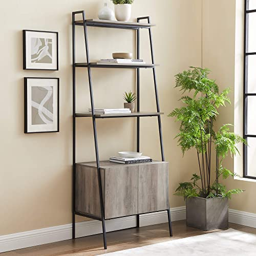 72″ Industrial Wood Ladder Bookcase