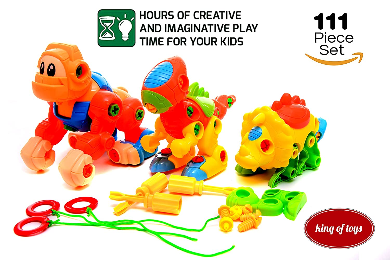 Dinosaur Take Apart STEM Learning Toys with Tools Pack of 2 Dinosaurs And 1 King Kong Construction Engineering 111 Piece Toy Play Set Hours of FunToy for Boys Girls Age 3 4 5 Year Old