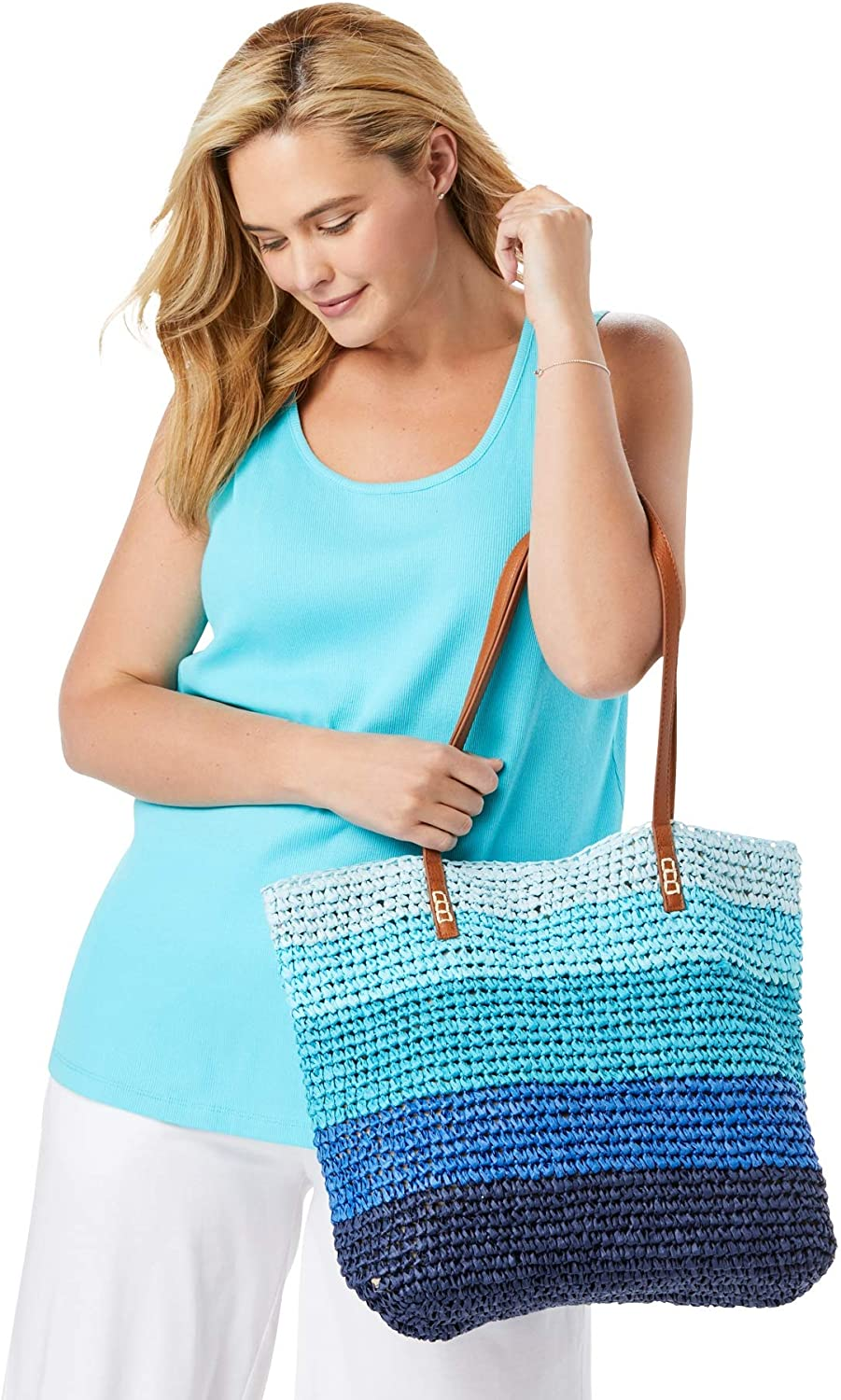 Women's Woman Within Plus Size Color Block Straw Tote