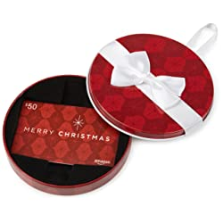 Amazon Gift Card in a Christmas Ornament Tin