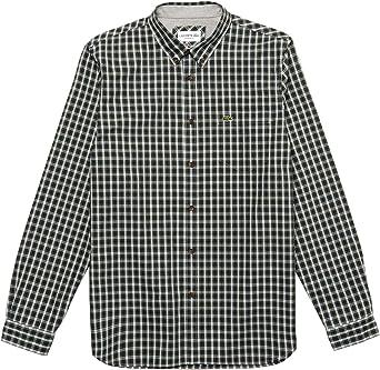 Lacoste Camisa Cuadros Marino para Hombre 40 Azul: Amazon.es: Ropa y accesorios