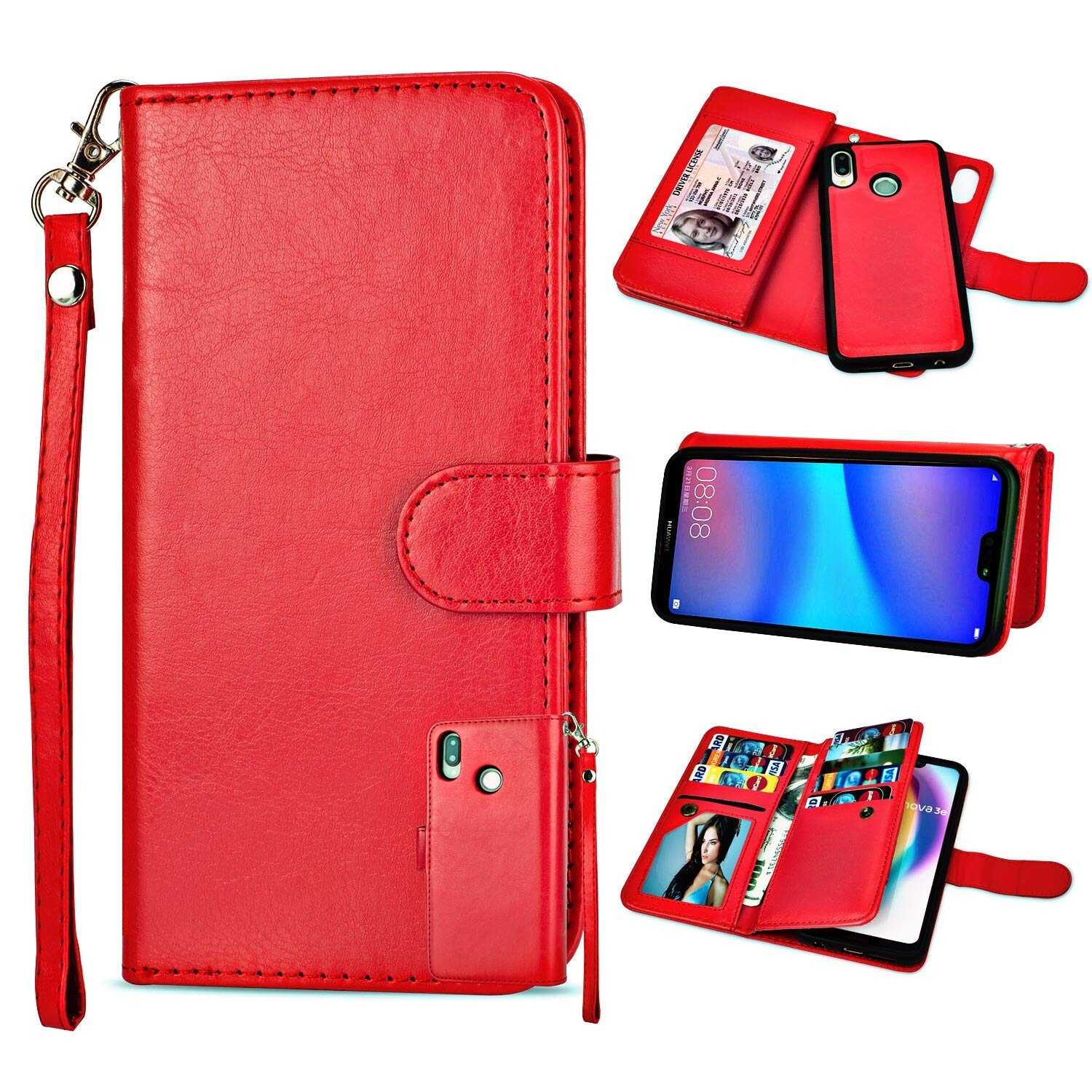 Cyber Deals Monday Deals Sales-Huawei P20 Lite Case, [Wallet Stand] [Slim Fit] Handmade Heavy Duty Protective Flip Cover Wallet Case for Huawei P20 Lite [Kickstand Feature] Leather Wallet Case (Brown) easygogo