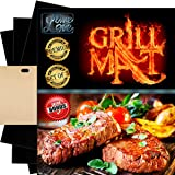 LINE LONE Set of 3 PREMIUM BBQ Grill Mats 15,75 x 13 inch + EXTRA Baking Mat & Toaster Bag