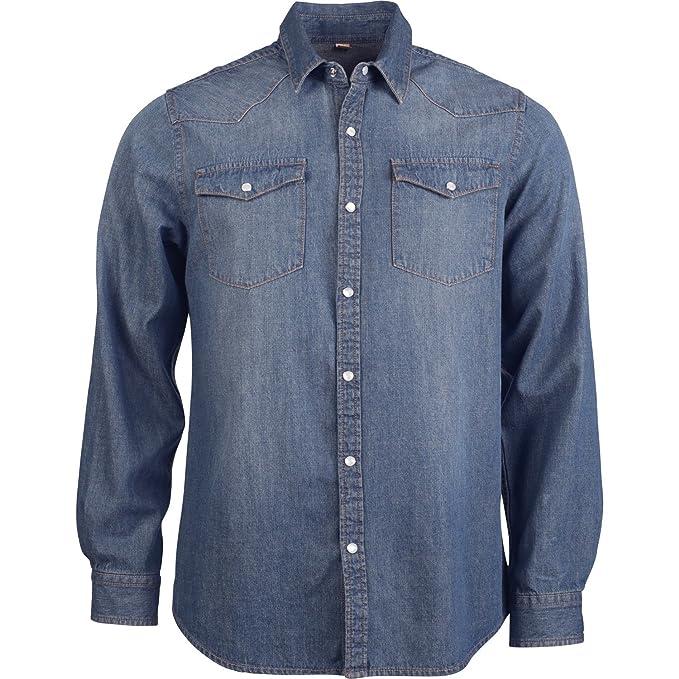607bfb5453f Kariban Mens Long Sleeve Casual Denim Shirt at Amazon Men s Clothing ...