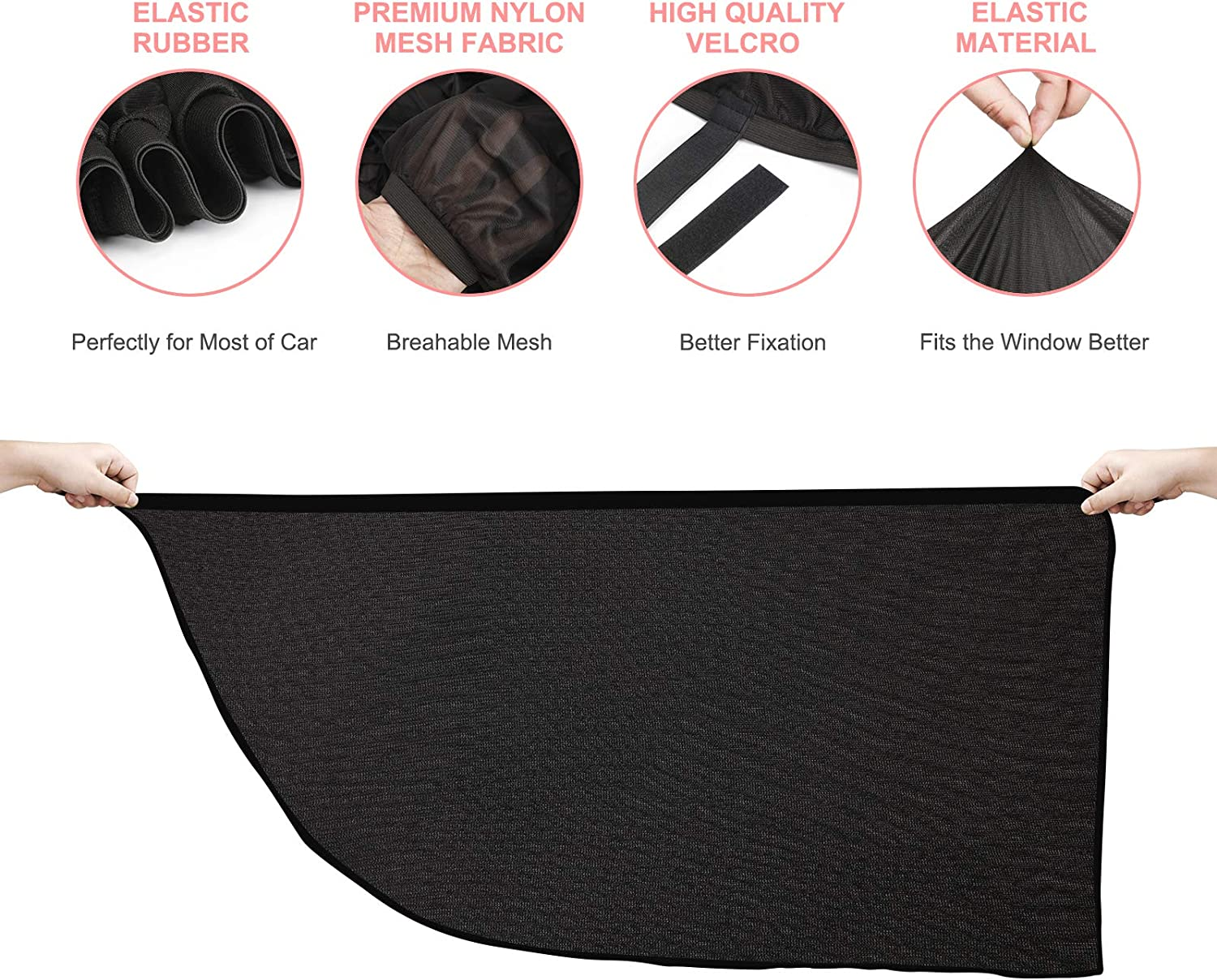 2 Pack Car Shades for Window Baby with Premium Quality Materials Blocks Over 98/% Glare,U.V Rays and Heat Protects Baby Kids and Pets Suitable for Most Vehicles Car Sun Window Shades for Kids