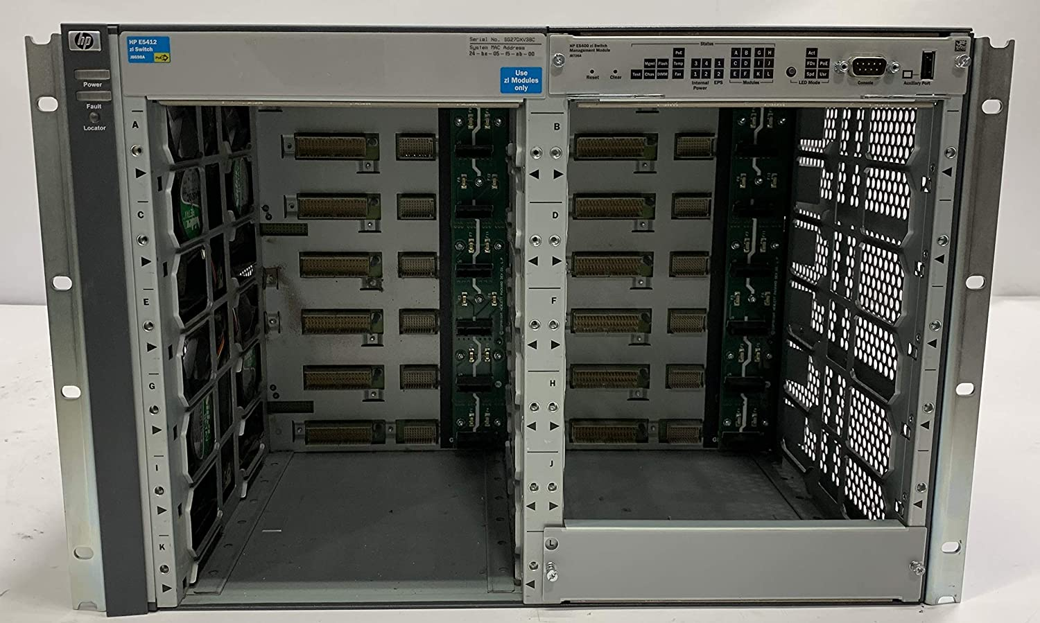J8697A Hp ProCurve Networking 5406zl Chassis w// Mgmt J8726A NO MODULES NO PSUs