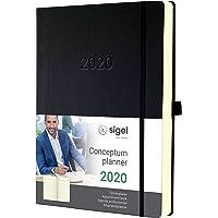 SIGEL C2004 Planungsbuch, Terminkalender 2020, A4+, 1 Tag = 1 Seite, für 4 Personen, schwarz, Hardcover Conceptum – weitere Modelle
