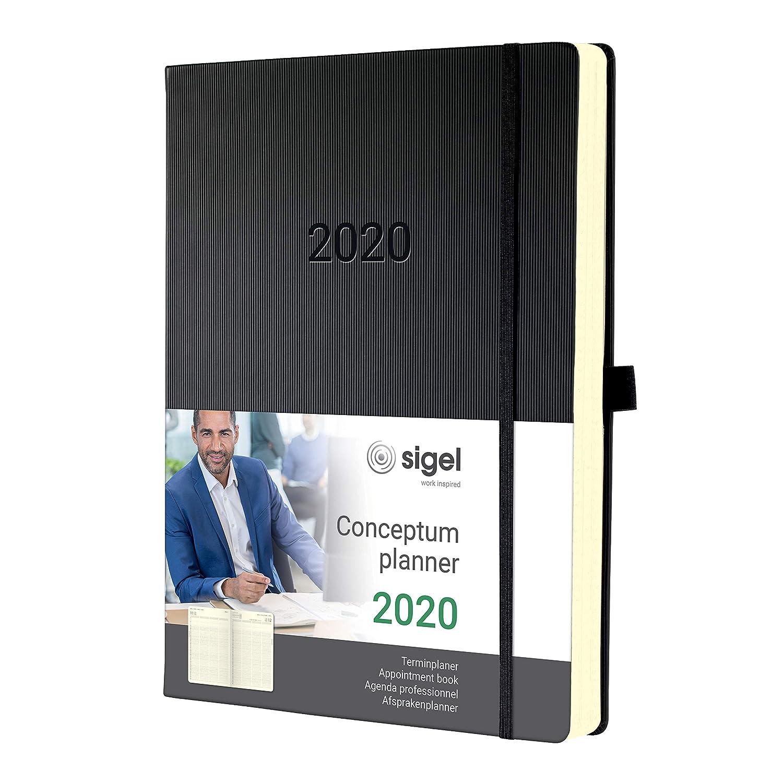 SIGEL C2004 Agenda profesional 2020 Conceptum, tapa dura, 22,5 x 31,5 cm, negro