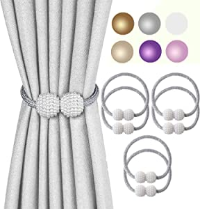 Magnetic Curtain Tiebacks 3 Pairs, Pearl Ball Home Curtain Buckle, The Most Convenien Tie Backs, European Curtain Decoration ,Weave Clips Rope Straps Holder for Big Thick Drapries (3 pairs gray)