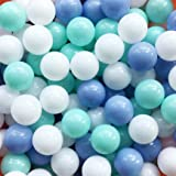 Thenese Pit Balls Crush Proof Plastic Children's Toy Balls Macaron Ocean Balls Small Size 2.15 Inch Phthalate & BPA Free Pack of 100 White&Green&Blue