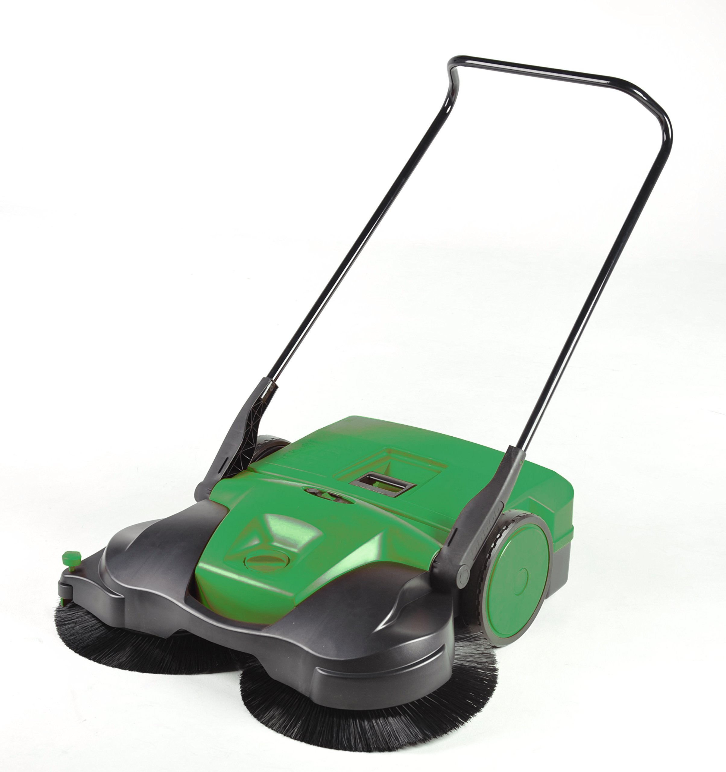 BISSELL BigGreen Commercial BG697 Battery Powered Triple Brush Push Power Sweeper, 13.2 gal Debris Container, 42'' Height, 38'' Width, Polypropylene, Green by Bissell
