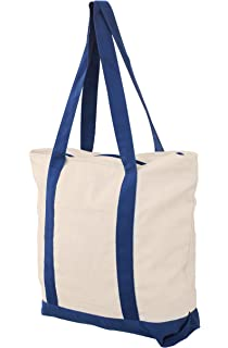 Earthwise Cotton Reusable Grocery Shopping Bag in Natural Canvas with Navy  Contrast Handle Large 19