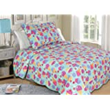"""All for You 2pc Reversible Quilt Set-twin Size for Girls' Room-ice Cream Theme-68""""x86"""""""