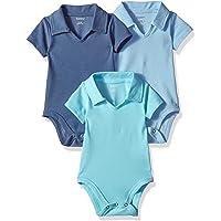 Hanes Ultimate Baby Baby-Boys BF1BP3 Flexy 3 Pack Short Sleeve Polo Bodysuits Bodystocking - Multi