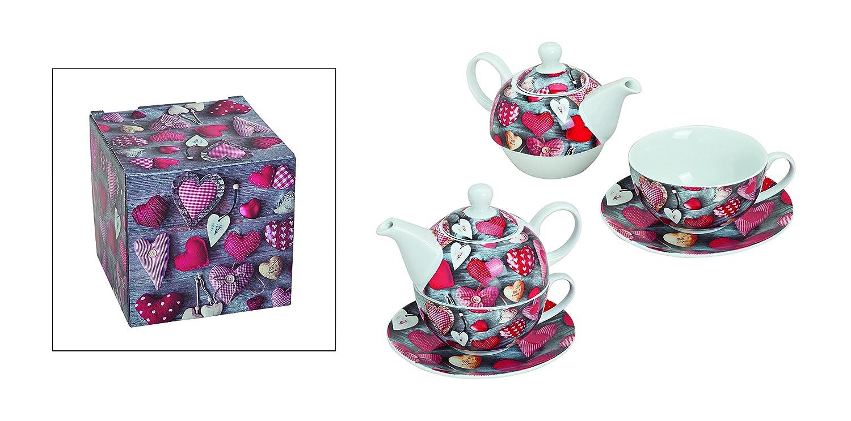 Tea for one de coraz/ón de teteras-juego de porcelana de la 4 tlg