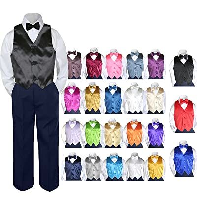 4pc Baby Toddler Boy Party Suit Tuxedo NAVY Pants Shirt Vest Bow tie Set Sm-4T