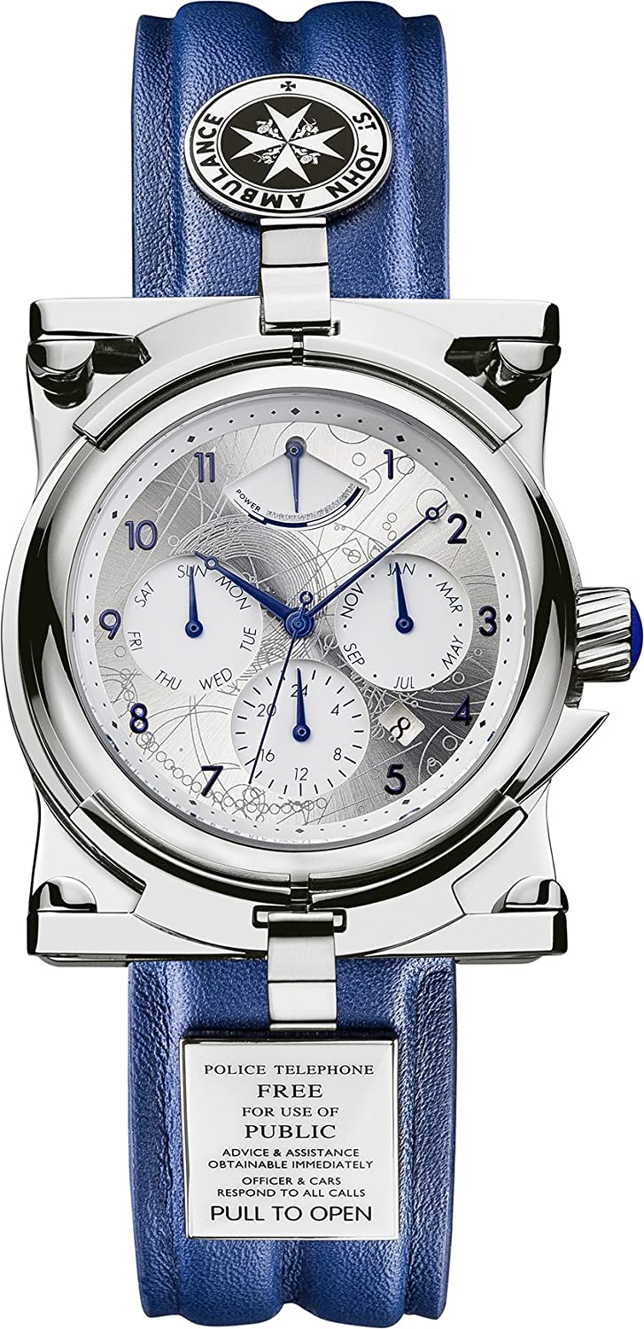 Doctor Who Men s Mechanical Chronograph Display Watch With Silver Dial And Blue