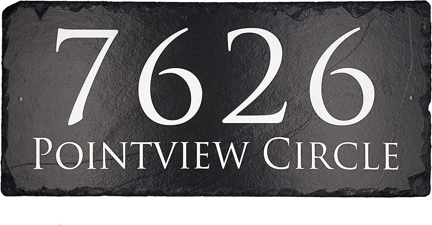 """Beautifully Handcrafted and Customizable Slate Home Address Plaque (12""""x6"""" 16""""x10"""" or 18""""x8"""") Personalized House Sign with and mounting hardware. Improve the curb appeal of your property"""